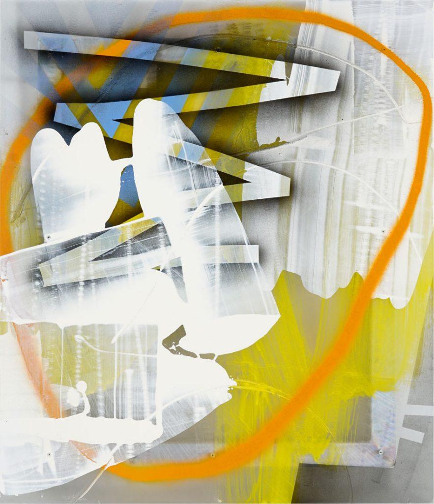 """Joe Fleming, """"Ski Pass"""", Enamel on Polycarbonate, 28″ x 24″"""